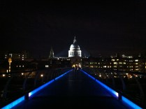 The Millennium Bridge at night. London, England.