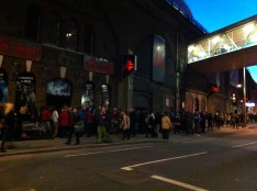 The crowds outside the London Dungeon a day after Halloween.