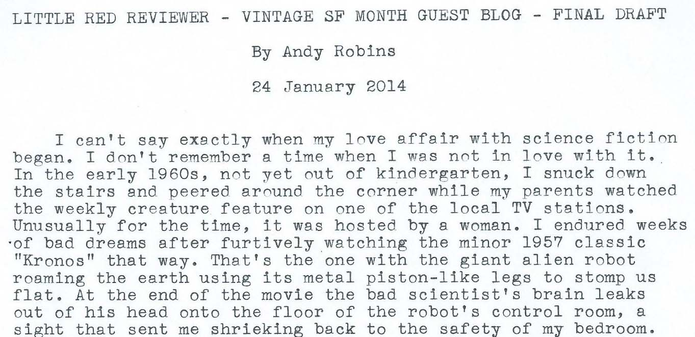 A Childhood of Science Fiction a guest post from Andy