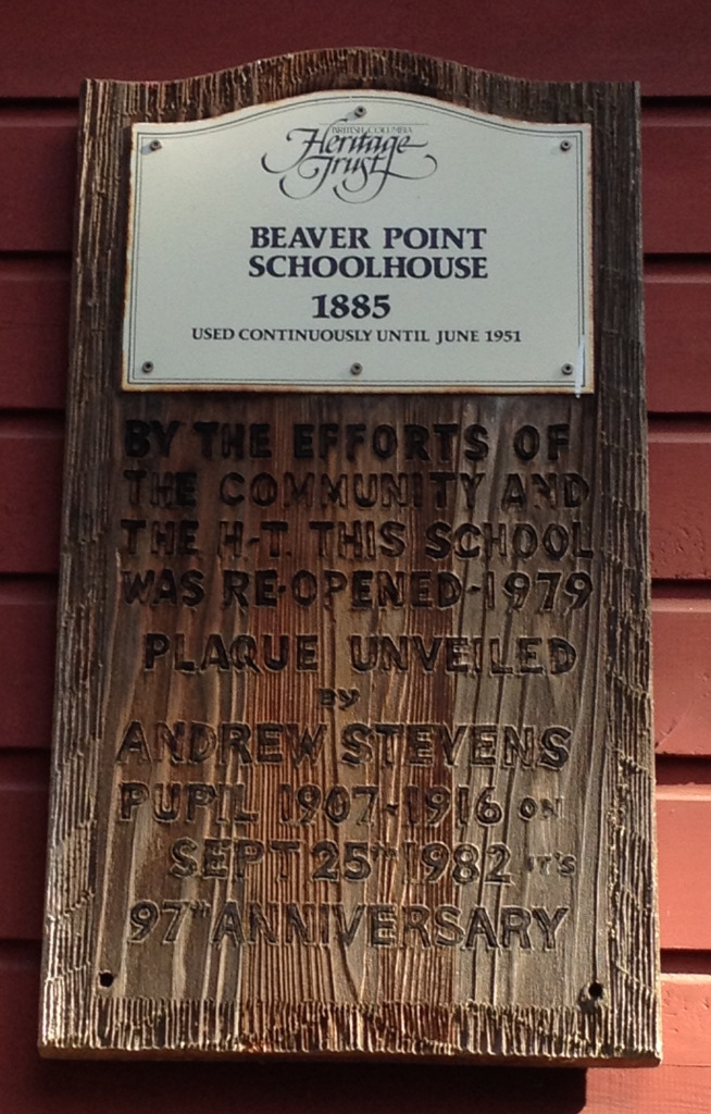 Little Red Schoolhouse Beaver Point Plaque