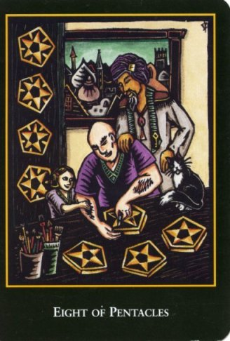Eight of pentacles tarot card - World Spirit Tarot