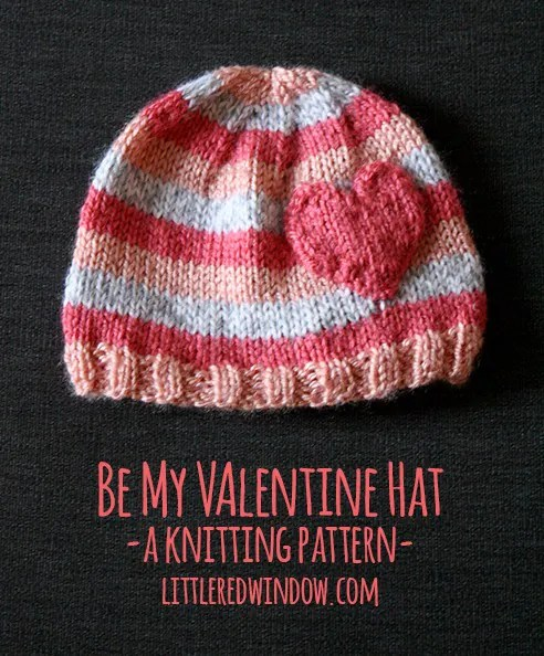 Free #knitting pattern \\ Be My Valentine #Heart Hat \\ http://ow.ly/Y0Dm3 #valentinesday