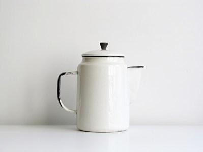 white enamel coffee kettle
