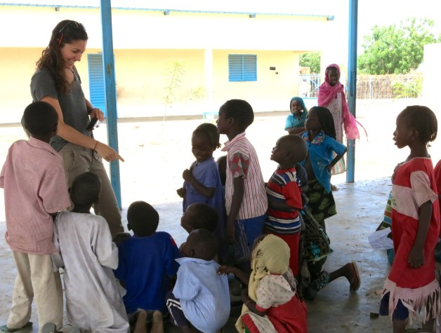 i-ACT's Sara-Christine interacts and exchanges hellos with the Little Ripples students.