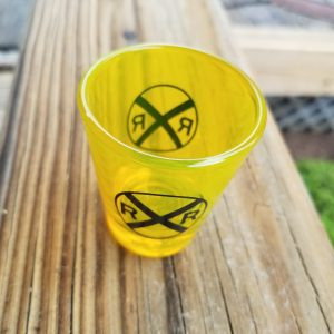 Railroad Crossing Shot Glass