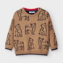 Pulover bej tricot cu imprimeu-cățeluși, Mayoral