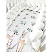 Set 3 piese lenjerie de pat Bambi și protecție albă