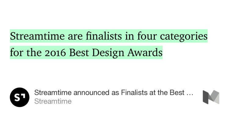 "Congratulations @streamtime ""… finalists in…"