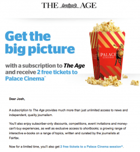 Screenshot from an email subscription offer.