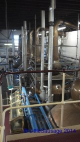 Spirit stills. You can't see the sign in this picture which says that these stills hold 12,729l of spirits! You can just see that there are 6 of them for a total capacity of 76,374l!