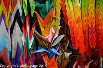 Some of the many thousands of paper cranes collected at the monument.