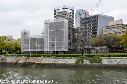 The a-bomb dome, like many other places we have visited in Japan, is currently wrapped in scaffolding.