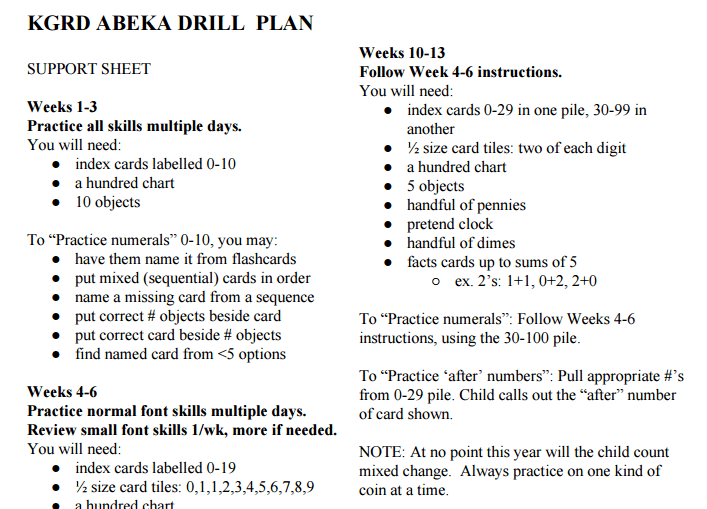 support sheet - KGRD Abeka Math Drill Plan