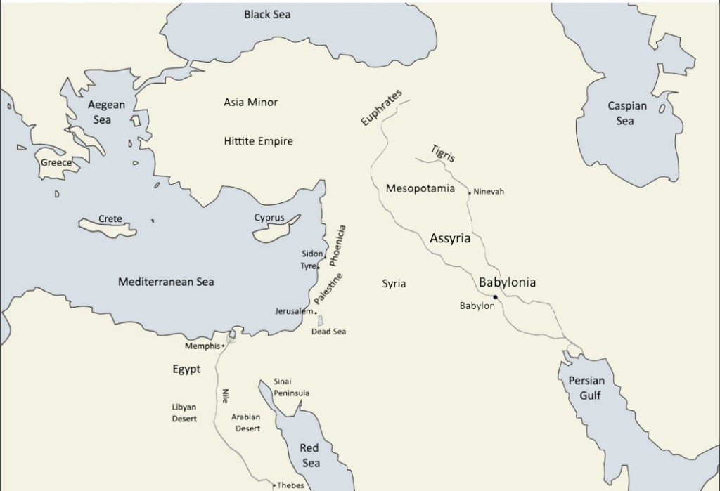Near East Labelled 1024x699 - Ancient Near East Map