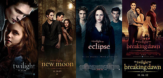 4 movie posters of the twilight series.