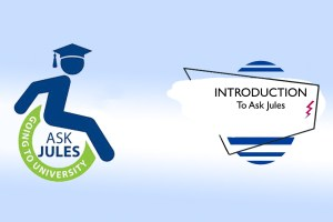 Silhouette graduate in a wheelchair. Text reads: Ask Jules, Going to University—Introduction to Ask Jules