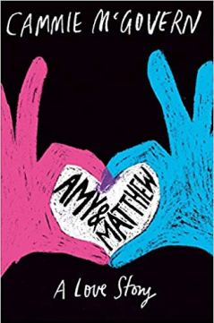 Cover for Amy and Matthew a disabled lit book. Two hands, one pink, one blue, meet and form a heart.