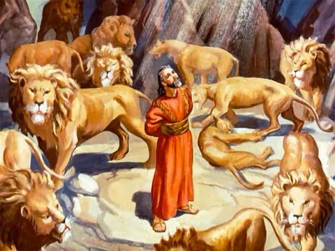 Daniel and the lion's den picture from the Bible