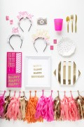 Nadia 2 happy-birthday-babe-pret-a-party-box-little-shop-of-wow-adult-party-in-a-box-coral-pink-gold-gold-tassle-banner-headbands-straws-napkins-plates-cupcake-toppers-cutlery-cups-confetti-trendy