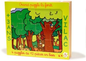 Boxed wooden forest puzzle