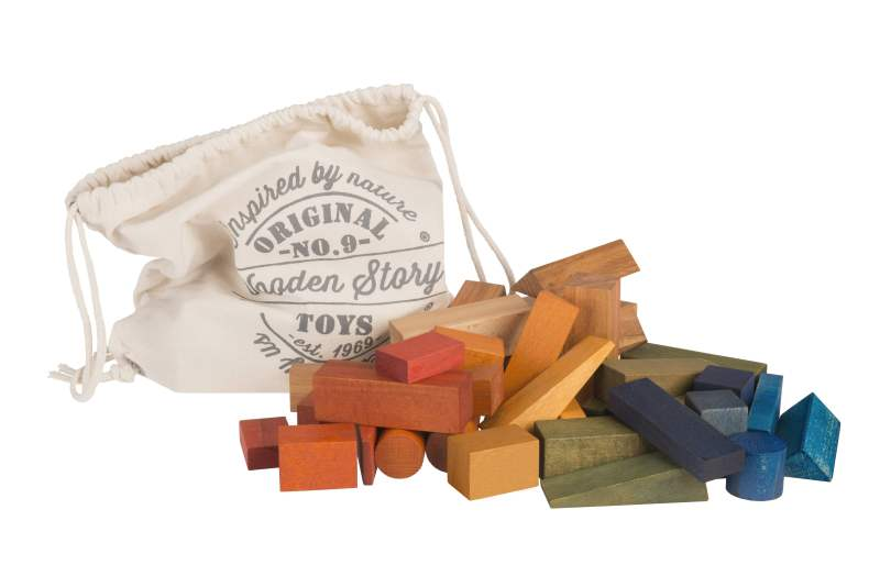 Wooden story - XL Rainbow wooden blocks 50 pieces