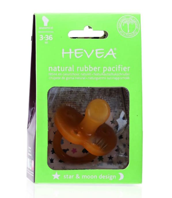 HE-StarMoon-3-36 Hevea Natural Rubber Pacifier Star and Moon Design