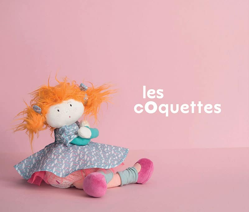 pretty pink doll with blue dress and orange hair - les coquettes - Moulin Roty
