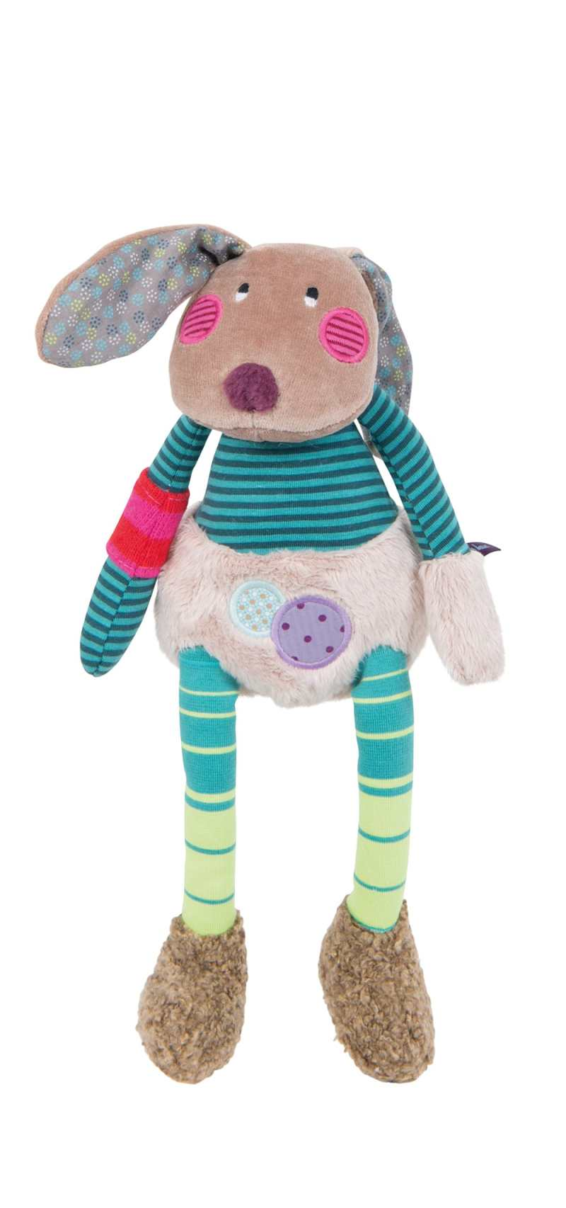 rabbit plush toy - jolis pas beaux from moulin roty with quirky mix of neutral colours and fabrics