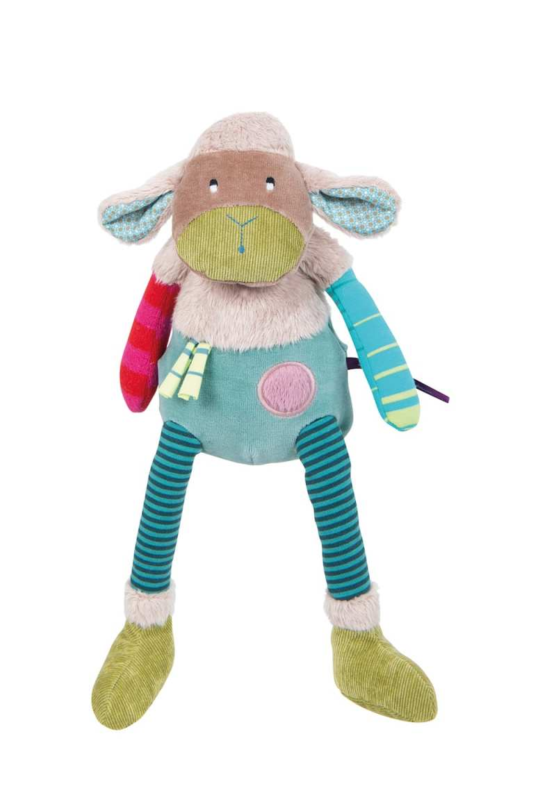 jolis pas beaux sheep soft toy in velour, corduroy, jersey and fur, quirky colours and mix of materials
