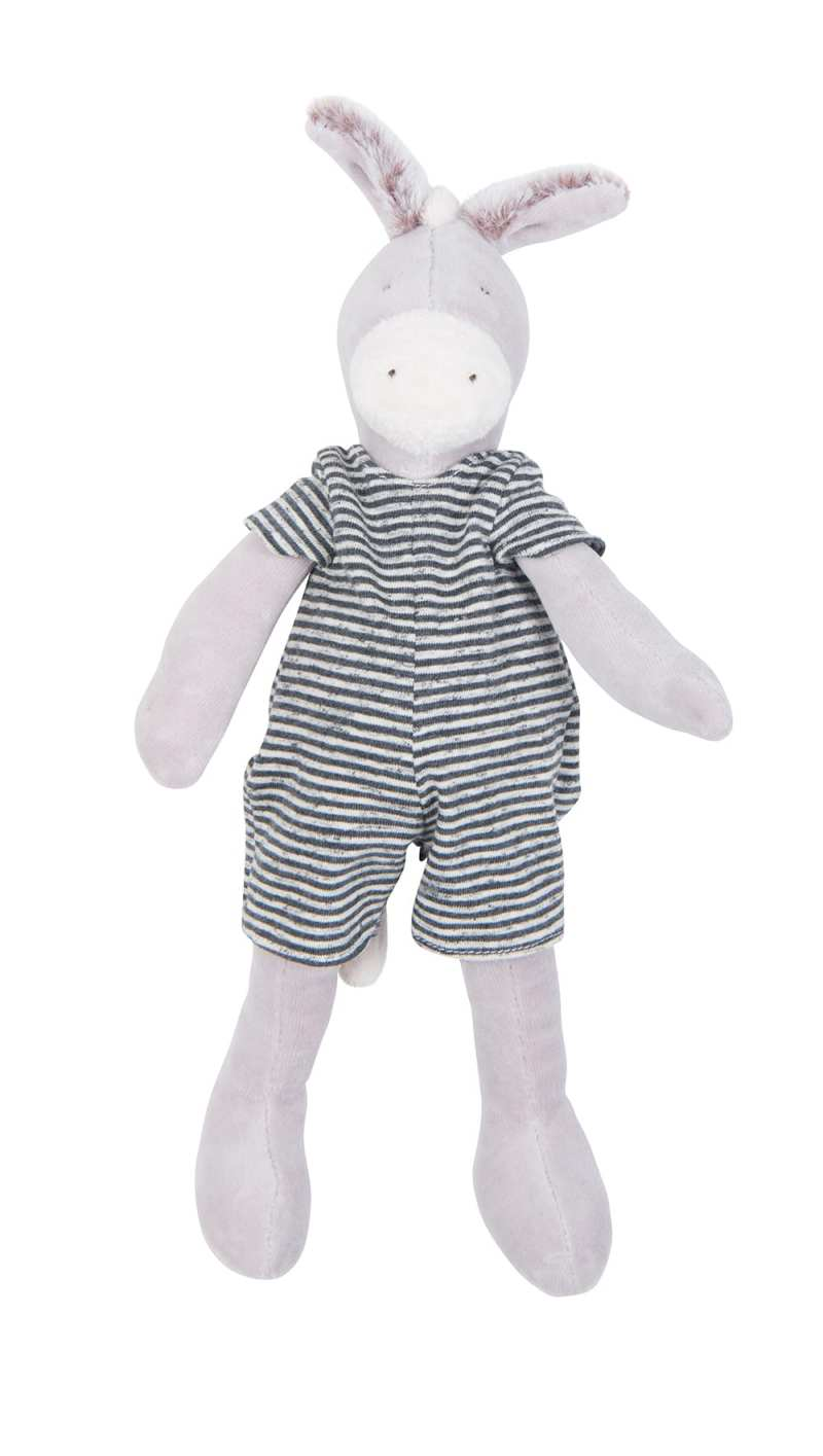 grande famille donkey toy with plush body and striped jumpsuit - moulin roty