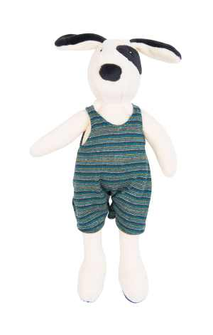 julius the stuffed dog soft toy from moulin roty with white velour body and blue and grey striped removable jumpsuit and black facial features