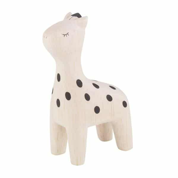 wooden giraffe - wooden animals and figurines for kids bedroom decoration, small giraffe with spots