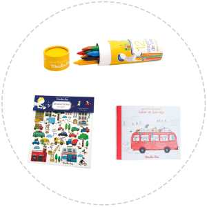 bright and colourful children's gift pack - crayons, colouring book and transfers