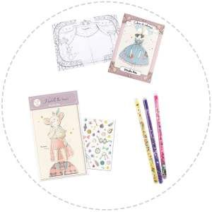 colouring book, dress up dolls and magic wand gift pack