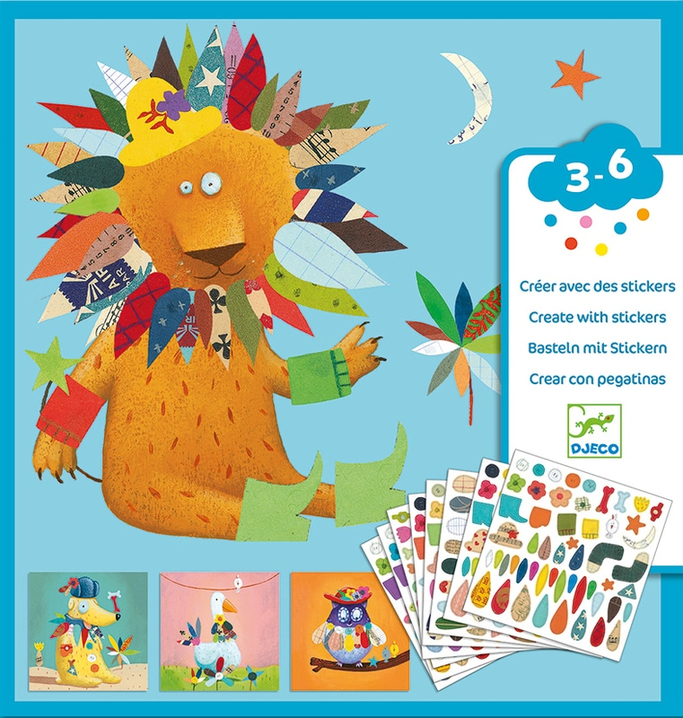 Djeco animal stickers box with sheets of stickers