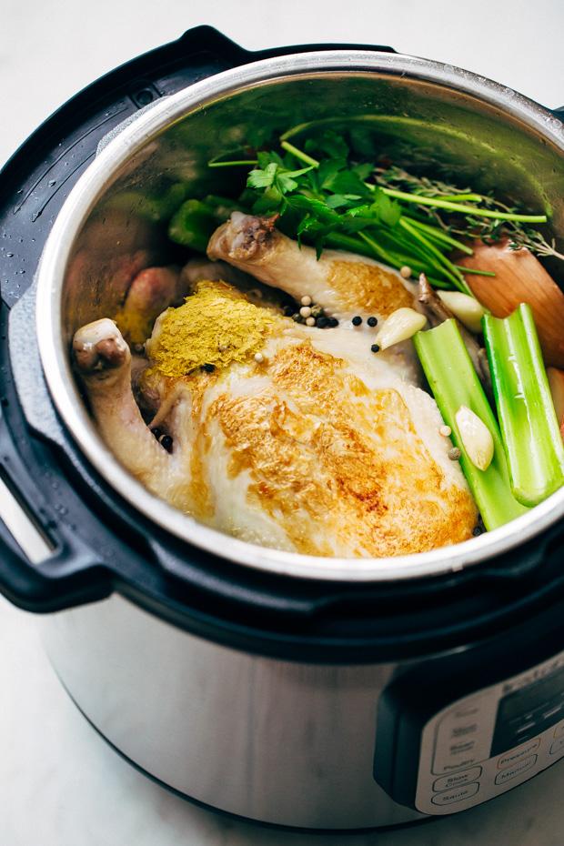 One Hour Pressure Cooker Chicken Broth Recipe   Little ...