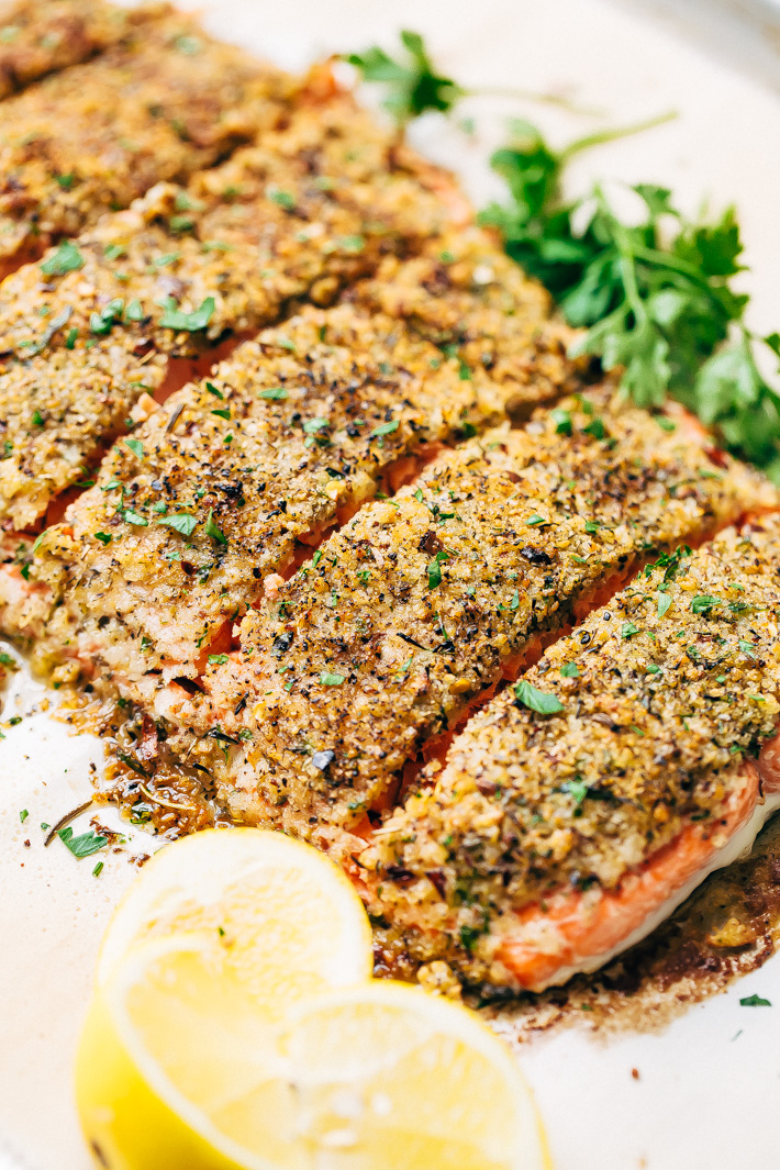 Crunchy Garlic Lemon Pepper Salmon Recipe - an easy weeknight friendly salmon recipe that has a crunchy panko crust on top! Healthy and delicious! #bakedsalmon #lemonpeppersalmon #roastedsalmon #breadedfish | Littlespicejar.com