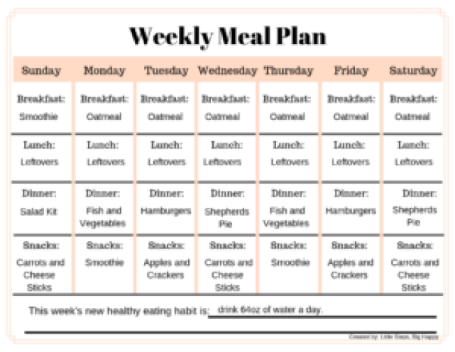 Weekly Meal Plan Example