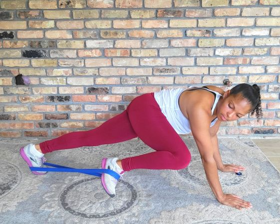 Plank Side Knee Raises with resistance band - Resistance Band Exercises for Abs