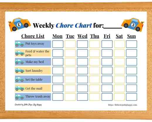 Teaching Independence in Preschoolers - Cars Chore Chart