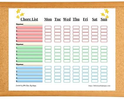 Printable Chore Chart for 3 Kids PDF