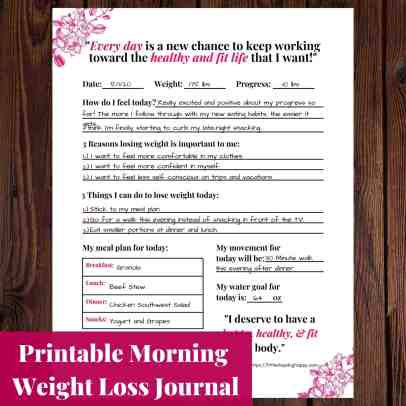 Printable Morning Weight Loss Journal