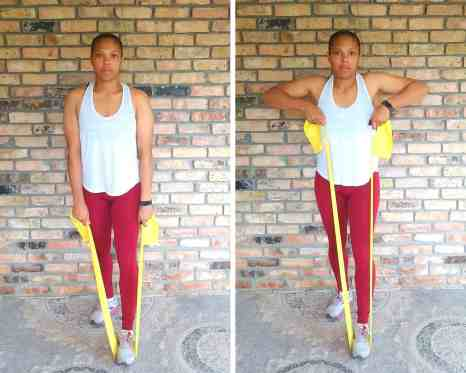 Upright row - Resistance band exercises for back and shoulders