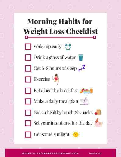 Morning Habits for Weight Loss Checklist
