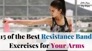 Woman stretching a resistance band -15 of the Best Resistance Band Exercises for Your Arms