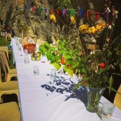 La table pour la Cup Song, champêtrement décorée