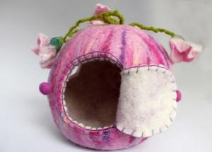 Elfenhäuschen, Rosa, Puppenhaus, Filz, Jahreszeitentisch