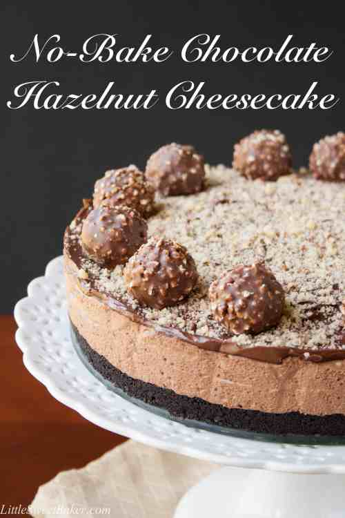 NO-BAKE CHOCOLATE HAZELNUT CHEESECAKE. Oreo cookie crumb base with a smooth and creamy chocolate hazelnut cheesecake filling, topped with a chocolate hazelnut spread and Ferrero Rocher candies.This simple no-bake recipe is only 4 ingredients, mix, chill and Voila!