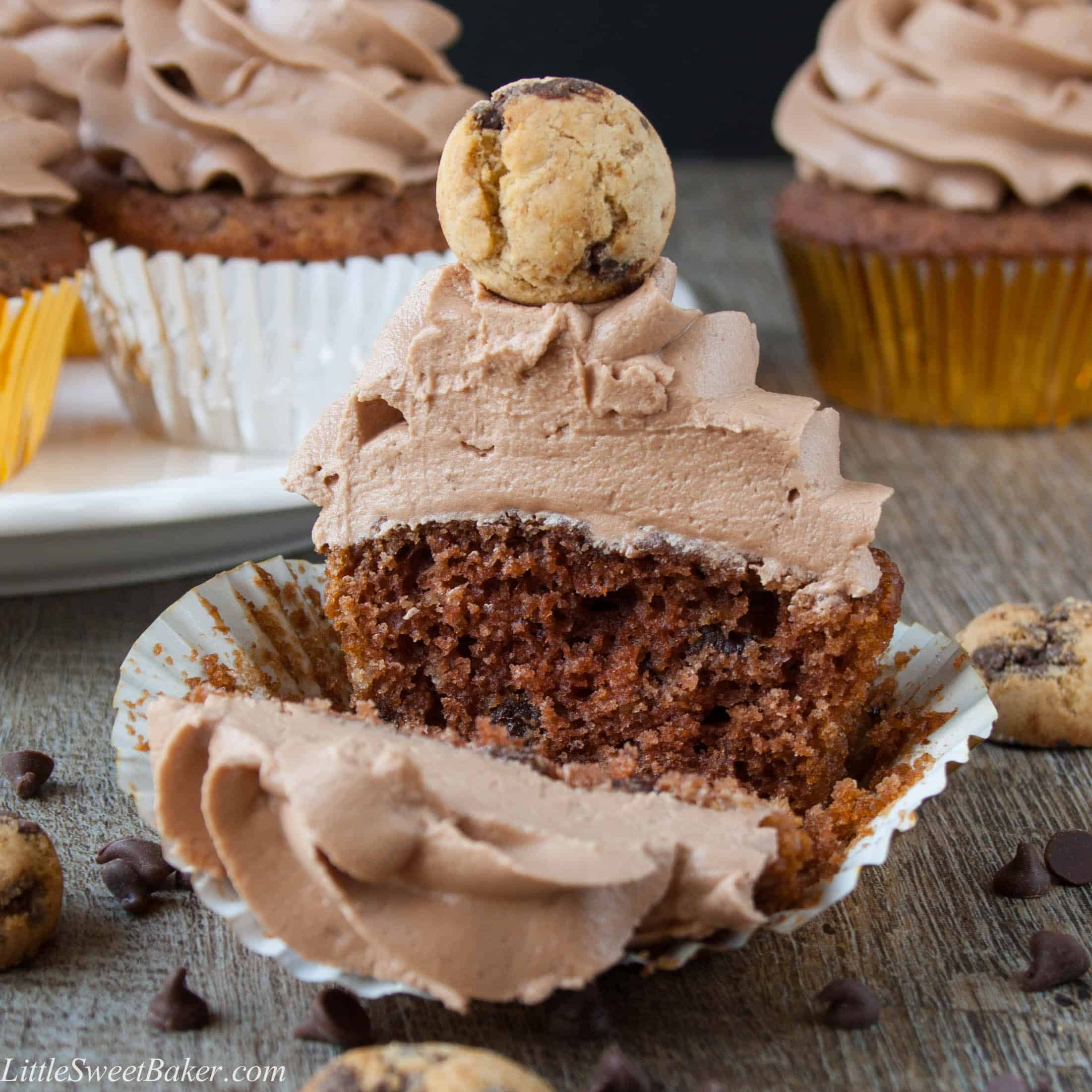 Chocolate Chip Cookie Cupcakes - Little Sweet Baker