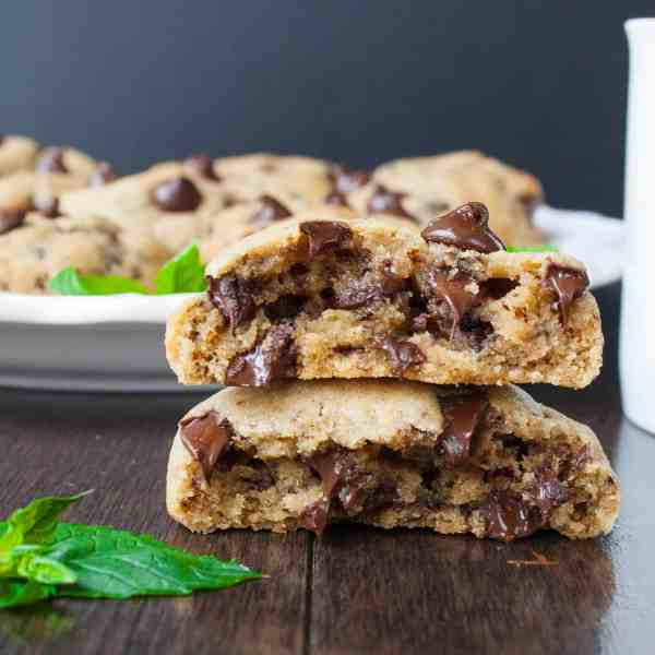 MOCHA MINT CHOCOLATE CHIP COOKIES. A thick chewy chocolate chip cookie made with fresh mint and a hint of coffee flavor.